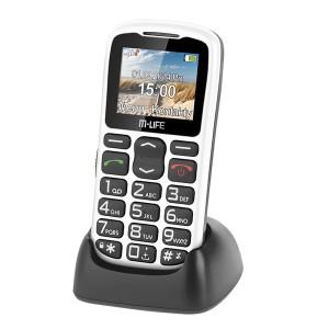 TELEFON GSM DLA SENIORA M-LIFE STACJA DOKUJĄCA BIAŁY