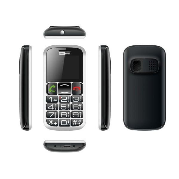 MAXCOM MM462BB TELEFON GSM CZARNO SREBRNY DLA SENIORA STACJA DOKUJĄCA