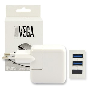 ŁADOWARKA SIECIOWA VEGA USB 3.1A BIAŁA 2XUSB 15W BOX