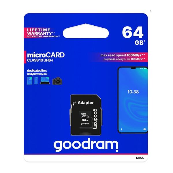 KARTA PAMIĘCI GOODRAM 64GB + ADAPTER CLASS 10 UHS-I M1AA-0640R12