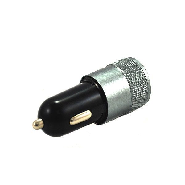 ŁADOWARKA SAMOCHODOWA 2 X USB 2A CZARNO SREBRNA VEGA ALUMINIUM 2100mAh