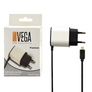 ŁADOWARKA SIECIOWA MICRO USB 1A  PREMIUM BOX VEGA 1000mAh BIAŁO- CZARNA