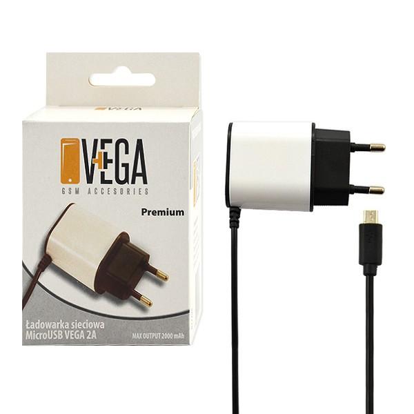 ŁADOWARKA SIECIOWA MICRO USB 2A VEGA PREMIUM BOX 2000mAh BIAŁO-CZARNA