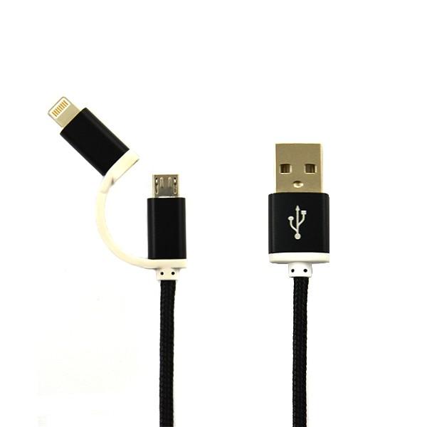 KABEL USB IPHONE 7 / 8  NYLON CZARNY + MIRO USB 2w1