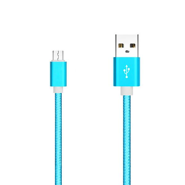 KABEL USB MICRO NYLON NIEBIESKI 1,5m BLUE