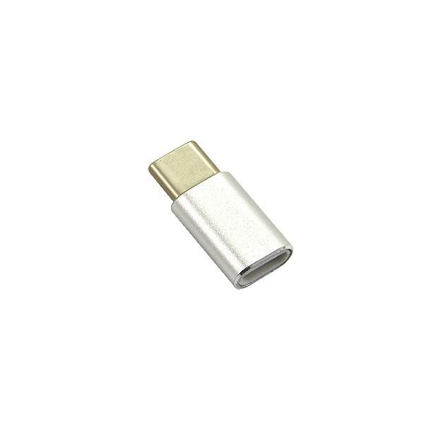 ADAPTER MICRO USB NA MICRO USB-C TYPU-C PRZEJŚCIÓWKA METAL TYP C SREBRNY