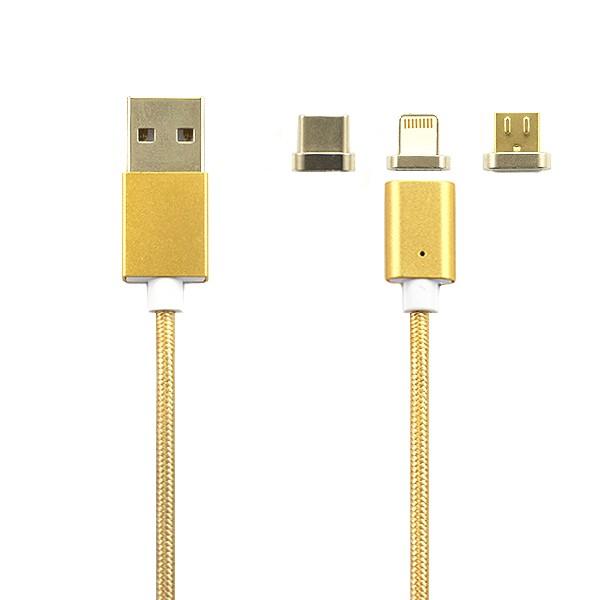 KABEL USB MAGNETYCZNY 3w1  IPHONE 6 6S IPAD AIR  2 / 5 5S 5G - MICRO USB - TYPC TYP-C ZŁOTY