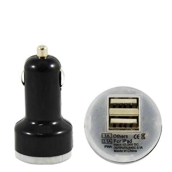 ŁADOWARKA SAMOCHODOWA USB 2A CZARNA VEGA BOX PODŚWIETLANA 2000mAh