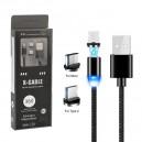 KABEL USB 3w1 MAGNETYCZNY 360 CZARNY IPHONE MICRO TYP-C  6 6S IPAD AIR  2 / 5 5S 5G