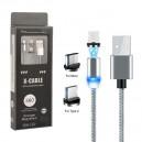 KABEL USB MAGNETYCZNY 360 3w1  IPHONE 6 6S IPAD AIR  2 / 5 5S 5G - MICRO USB - TYPC TYP-C SREBRNY ŁADOWANIE