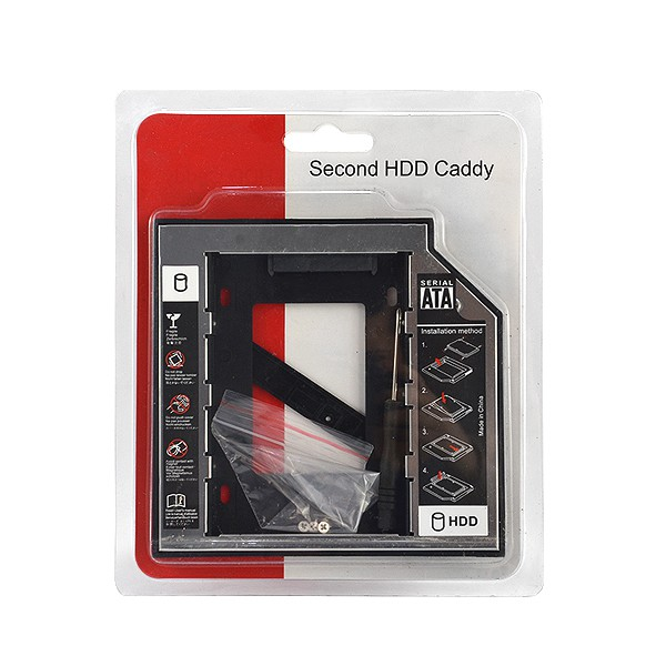 OBUDOWA DYSKU HDD SSD 2,5 CALA ADAPTER DVD TO HDD - SATA 12,5mm