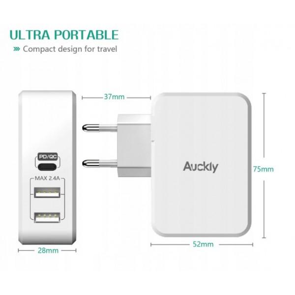 ŁADOWARKA SIECIOWA 2 X USB  1 X USB TYP-C 3A AUCKLY 29W PORT QUICK FAST CHARGER  BOX MACBOOK 3000mAh PD