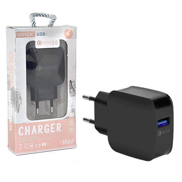 ŁADOWARKA SIECIOWA USB MICRO 3A CZARNA VEGA FASTON QUICK 3.0 FAST CHARGER 3000mAh