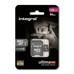 KARTA PAMIĘCI INTEGRAL 128GB + ADAPTER PREMIUM HIGH SPEED MICROSDHC/XC 90V30 UHS-I U3