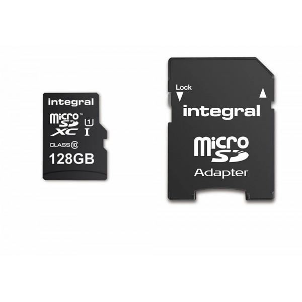 KARTA PAMIĘCI INTEGRAL 128GB + ADAPTER PREMIUM HIGH SPEED MICROSDHC/XC 90V30 UHS-I U3