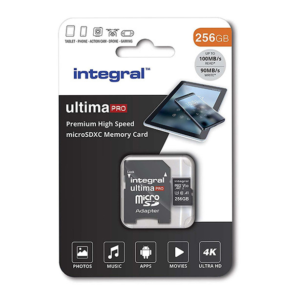 KARTA PAMIĘCI INTEGRAL 256GB + ADAPTER PREMIUM HIGH SPEED MICROSDHC/XC 80V30 UHS-I U3 R: 100MB/s W:70MB/s U3 V30