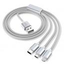 KABEL USB IPHONE 7 / 8  NYLON SREBRNY + MIRO USB + TYP C 3w1