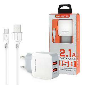ŁADOWARKA SIECIOWA 2A + KABEL MICRO USB BIAŁA SOMOSTEL 2100mAh 2XUSB DUAL SMS-A13
