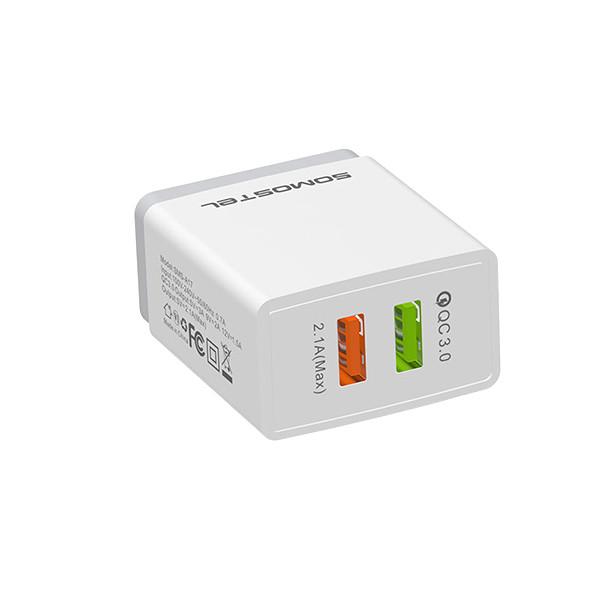 ŁADOWARKA SIECIOWA 3A/2A + KABEL MICRO USB BIAŁA SOMOSTEL QUICK 3.0 FAST CHARGER 3100mAh + 2100mAh QC 3.0 SMS-A17