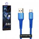 KABEL USB MICRO USB 3.6A SOMOSTEL NIEBIESKI 3600mAh SBW06BL QUICK CHARGER QC 3.0 1M POWERLINE SMS-BW06