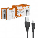 KABEL USB MICRO 3.1A SOMOSTEL CZARNY 3100mAh QUICK CHARGER QC 3.0 1M POWERLINE SMS-BT09 ECL