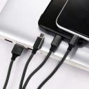 KABEL USB 3W1  SOMOSTEL CZARNY  1.2M POWERLINE SMS-BW03