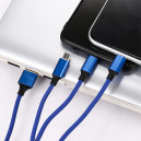 KABEL USB 3W1 3.4A SOMOSTEL NIEBIESKI 3400mAh QUICK CHARGER QC 3.0 1,2M POWERLINE SMS-BW03