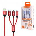 KABEL USB 3W1 3.4A SOMOSTEL CZERWONY 3400mAh QUICK CHARGER QC 3.0 1.2M POWERLINE SMS-BW03