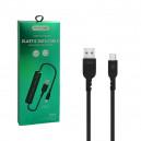 KABEL USB TYP-C 2.4A NAFUMI CZARNY 2400mAh QUICK CHARGER QC 3.0 1,5M ELASTIC NFM-M26 SPRĘŻYNKA