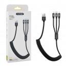 KABEL USB 3W1 2,4A NAFUMI CZARNY 2400mAh QUICK CHARGER QC 3.0 1,5M ELASTIC NFM-016 SPRĘŻYNKA