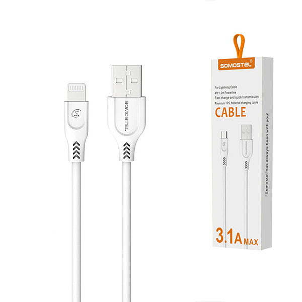KABEL USB IPHONE 3.1A SOMOSTEL BIAŁY 3100mAh QUICK CHARGER QC 3.0 1.2M POWERLINE SMS-BT01