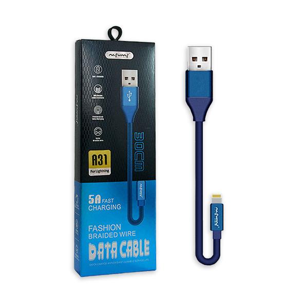 KABEL USB LIGHTNING 5A NAFUMI NIEBIESKI 5000mAh QUICK CHARGER QC 3.0 30CM IPHONE  NFM-A31
