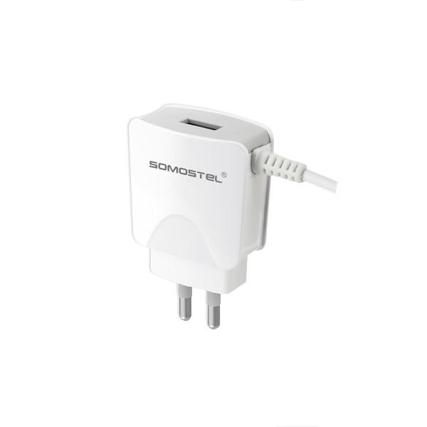 ŁADOWARKA SIECIOWA 2A KABEL USB MICRO BIAŁA SOMOSTEL 2100mAh SMS-A03