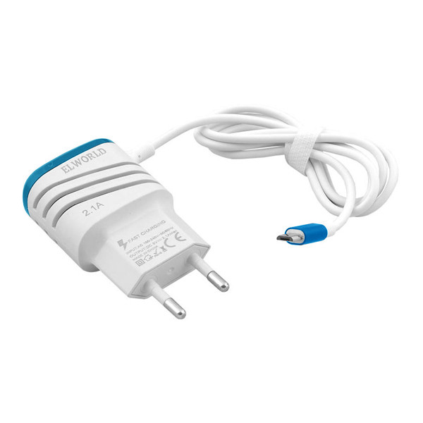 ŁADOWARKA SIECIOWA USB MICRO 2.1A BIAŁA  FAST CHARGING BOX 2000mAh 2XUSB MIX KOLORÓW