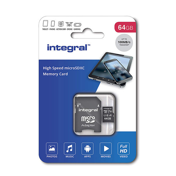 KARTA PAMIĘCI INTEGRAL 64GB + ADAPTER CLASS 10 UHS-I micro SDXC Cards Ultima Pro - UHS-1 100 MB/s transfer INMSDX64G-100v30