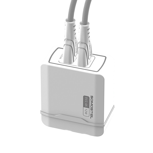 ŁADOWARKA SIECIOWA 2.4A + KABEL TYP-C BIAŁA USB-C SOMOSTEL 2400mAh 2XUSB DUAL SMS-A138