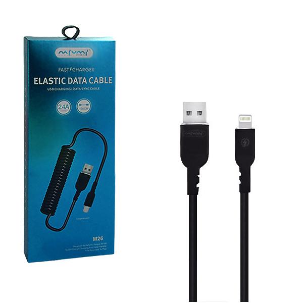 KABEL USB IPHONE 2.4A NAFUMI CZARNY 2400mAh QUICK CHARGER QC 3.0 1,5M ELASTIC NFM-M26