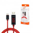 KABEL USB TYP-C 2.4A CZERWONY 2400mAh QUICK CHARGER QC 3.0 1.2M MIERNIK LED USB-C