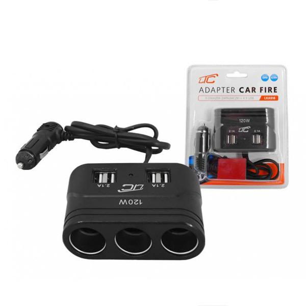 ROZGAŁĘZIACZ ROZDZIELACZ GNIAZDA ZAPALNICZKI CAR FIRE 3 GNIAZDA + USB 4.2A CZARNY  LXAS16 LTC