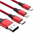 KABEL USB IPHONE 7 / 8  NYLON CZERWONY + MIRO USB + TYP C 3w1 REDX