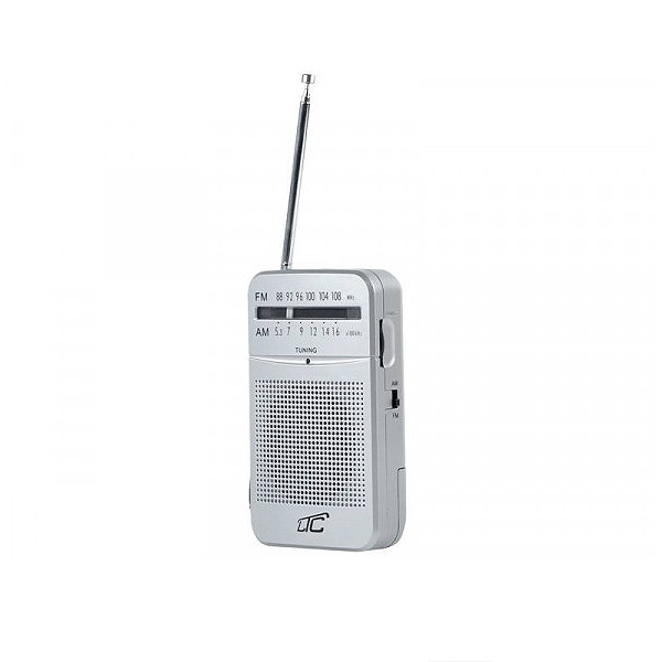 RADIO PRZENOŚNE LTC LEGA MINI AUX AM FM SREBRNY