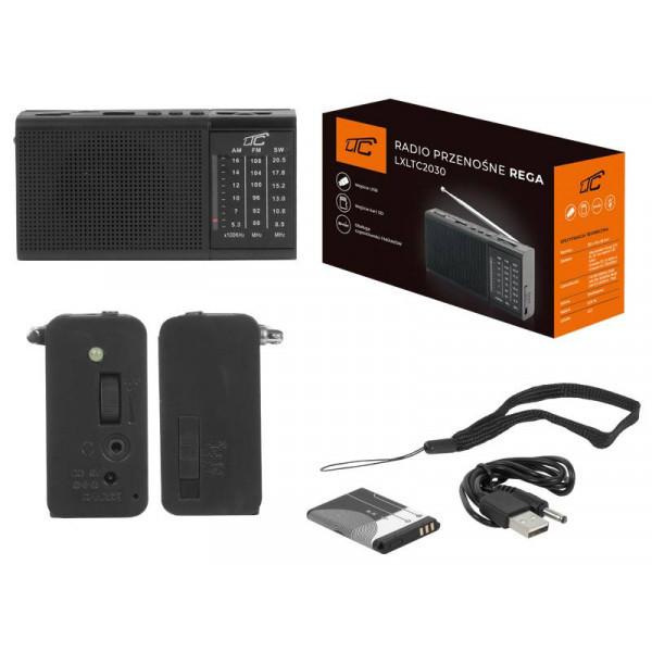 RADIO PRZENOŚNE LTC REGA USB AUX AM FM MP3 USB SD LATARKA LED
