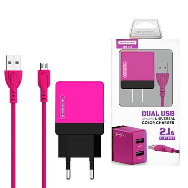ŁADOWARKA SIECIOWA 2A + KABEL MICRO USB RÓŻOWY SOMOSTEL 2100mAh 2XUSB DUAL SMS-A53