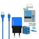 ŁADOWARKA SIECIOWA 2A + KABEL MICRO USB NIEBIESKI SOMOSTEL 2100mAh 2XUSB DUAL SMS-A53