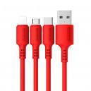 KABEL USB IPHONE 3A SOMOSTEL CZERWONY 3100mAh QUICK CHARGER 1.2M POWERLINE SMS-BP06 MACARON