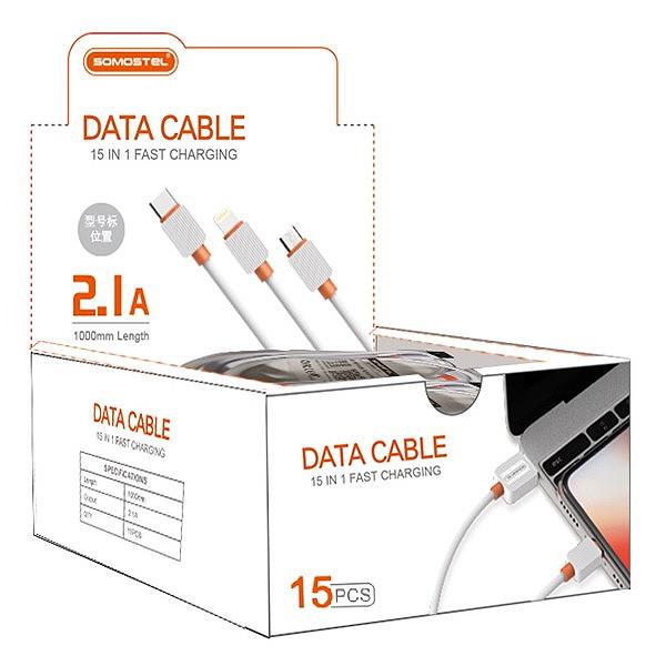 KABEL USB MICRO 2A SOMOSTEL CZARNY 2000mAh QUICK CHARGER 1M POWERLINE SMS-BP03 15SZT PREZENTER