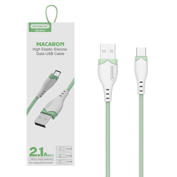 KABEL USB TYP-C 3A SOMOSTEL ZIELONY 3100mAh QUICK CHARGER 1.2M POWERLINE USB-C SMS-BP04 MACARON