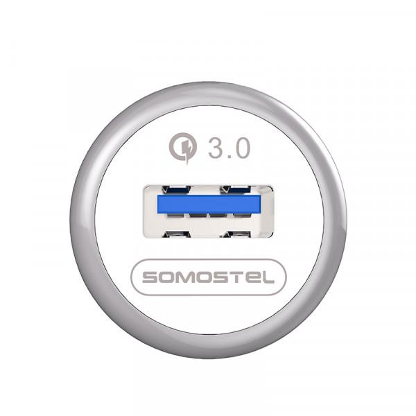 ŁADOWARKA SAMOCHODOWA 3A BIAŁA SOMOSTEL 3100mAh QUICK CHARGE QC 3.0 SMS-A46