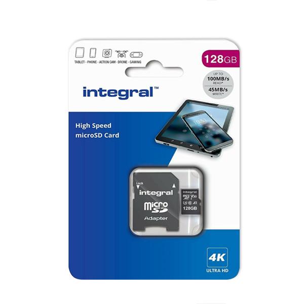 KARTA PAMIĘCI INTEGRAL 128GB + ADAPTER PREMIUM HIGH SPEED MICROSDHC/XC INMSDX128G-100V10