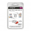 PENDRIVE INTEGRAL FUSION 128GB USB 3.0 DRIVE TYP-C USB-C INFD128GBFUS3.0-C